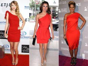 Красное платье с черными аксессуарами