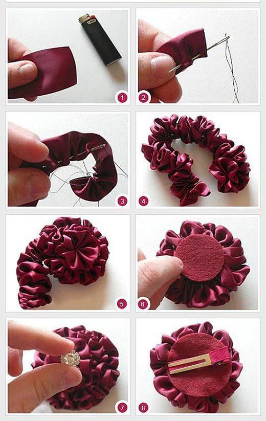 Сделать заколку с цветком своим руками